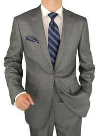 Salvatore Exte Men's 2 Button Windowpane Silver Gray Suit
