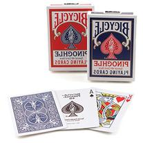 2 Decks Bicycle Red Blue Pinochle Playing Cards RI, U.S.