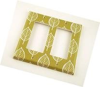 2 Gang Rocker Lightswitch Plate Olive and Leaves