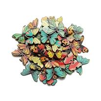 TOOGOO 50pcs 2 Holes Mixed Butterfly Wooden Buttons Sewing