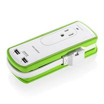Poweradd 2-Outlet Mini Travel Surge Protector with Dual USB