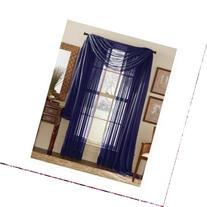 MONAGIFTS 2 PANELS NAVY BLUE Sheer Voile Window Panel