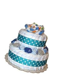 QBabyShowering 2 Tier Cute Decorated Baby Boy Blue Diaper