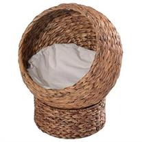 Pawhut 20 Banana-Leaf Condo Pod Elevated Cat Bed - Brown