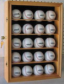 20 Baseball Display Case Cabinet, with 98% UV protection.