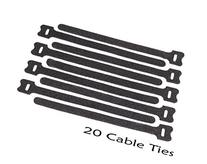 20 Black Quality Reusable Hook and Loop Cable Ties. Neat