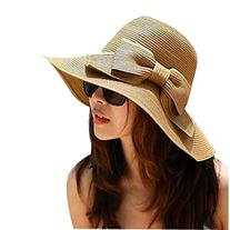 2015 Fashion Style Women Girls Bowknot Straw Hat Wide Brim