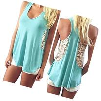 Creazy 2016 Women Summer Loose Lace Vest T Shirt Casual