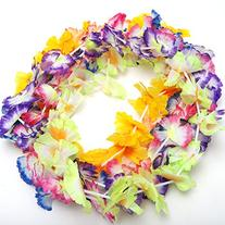 1 X 24 Hawaiian Luau Jumbo Silk Flower Leis Tropical Party
