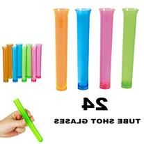 24 Party Tube Shot Glasses Test Clear Neon Plastic Shooter