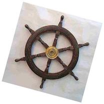 24 Wooden Ship Wheel: Pirate Boat and Fishing Decor