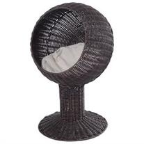 Pawhut 28 Hooded Rattan Wicker Elevated Cat Bed - Coffee/