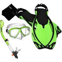 285890-Green-SM-Snorkeling Mask Dry Snorkel Fins Mesh Gear