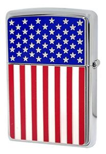 Zippo 28827 American Flag High Polish Chrome Classic