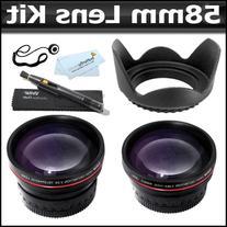 58mm 2x Telephoto Lens + Wide Angle Lens + Lens Hood + More