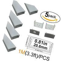 LightingWill 5-Pack U-Shape LED Aluminum Channel 3.28ft/1M