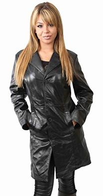 Womens 3/4 Long Leather Coat for Ladies Fitted Knee Length