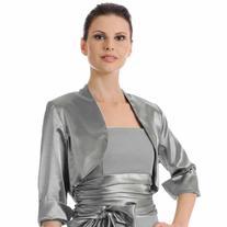 Luxury Divas Silver 3/4 Sleeve Satin Style Bolero Shrug