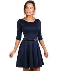 Womens 3/4 Sleeve Skater Dress
