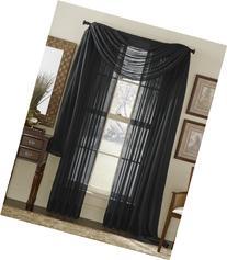 3 Piece Black Sheer Voile Curtain Panel Set: 2 Black Panels