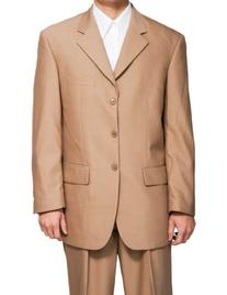 New Men's 3 Button Single Breasted Tan  Dress Suit