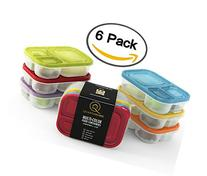 Multi-color 6 PACK. 3 compartment reusable food storage