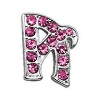 """3/8"""" Pink Script Letter Sliding Dog Charm A"""