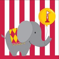 3 Ply Lunch Napkins 1st Birthday Circus Time 192 Ct