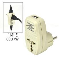 OREI 3 in 1 Schuko Travel Adapter Plug with USB and Surge
