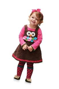 3 T Owl Jumper with Tights By Mud Pie