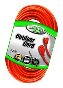 Coleman Cable 02309 16/3 Vinyl Outdoor Extension Cord, 3-