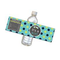 30 Water Bottle Labels Waterproof Baby Boy Shower Green Teal