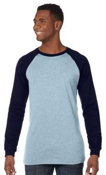 Bella 3000 Mens Jersey Long Sleeve Baseball Tee - Baby Blue