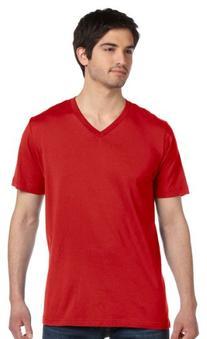 Canvas 3005 Unisex Jersey Short-Sleeve V-Neck T-Shirt, Red,