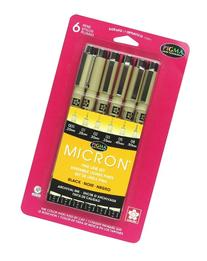 Sakura 30062 6-Piece Pigma Micron Ink Pen Set, Black