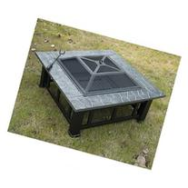 Outsunny 32 Square Outdoor Fire Pit - Black