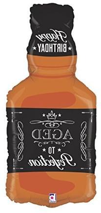 XL 34 Aged To Perfection Whiskey Bottle Super Shape Mylar