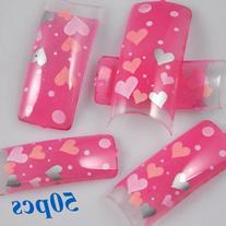 350BUY Sweet Clear Pink Hearts Acrylic French False Nail Art