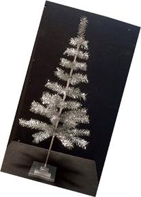 36'' Silver Christmas Tinsel Tree Retro Style Silver Feather