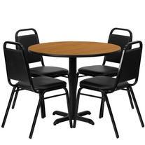 Flash Furniture Round Laminate Table Set with 4 Trapezoidal