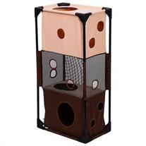 Pawhut 36 Square 3-Story Vertical Cat Activity Tower - Beige