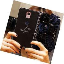 KAKA 3D Handmade Elegance Blue Flower PU Leather Stand