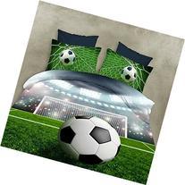 YeeKin3D Oil Football Print Kids Duvet Bed Sheet No