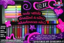 Elmer's 3D Washable Glitter Pens Flat Box, 31 Rainbow and
