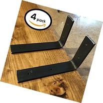 """4 Pack - 6""""L x 6""""H Bracket, Handcrafted Forged Rustic"""