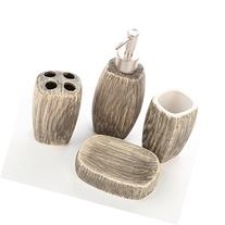4 Piece Brown Ceramic Bathroom Accessories Set w/ Soap