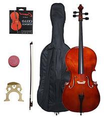 Crescent 4/4 Beginner Cello Starter Kit - Natural Wood Color