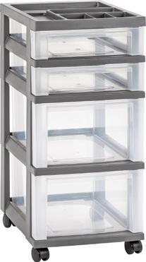 IRIS 4-Drawer Storage Cart with Organizer Top, Gray