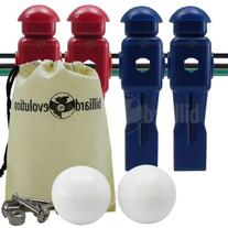 4 Red and Blue Dynamo Foosball Men and 2 Smooth Balls with
