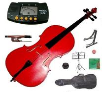 Merano 4/4 Full Size Red Student Cello with Bag and Bow+2